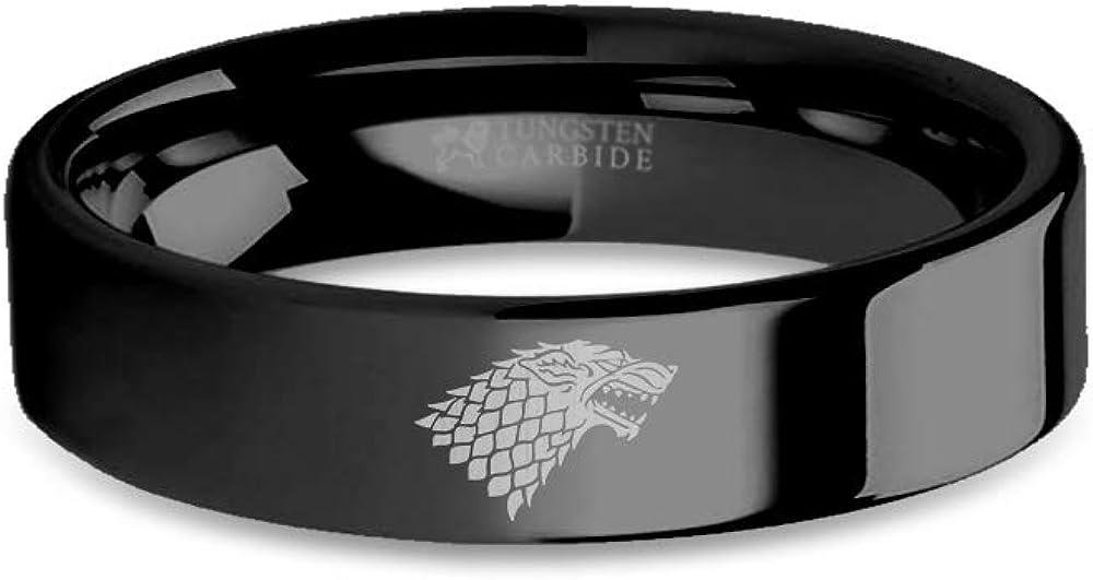 6 mm Game of Thrones House Stark Direwolf Sigil Black Tungsten Ring