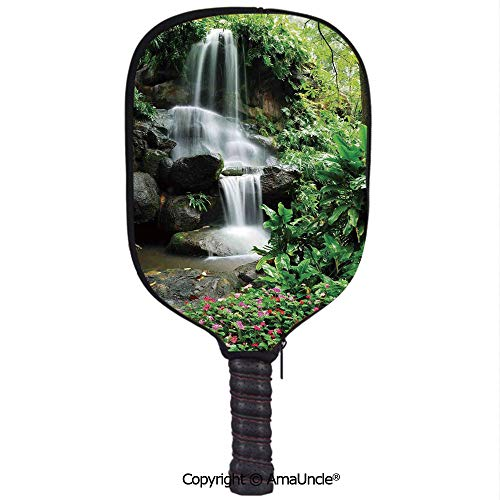 SCOXIXI Customized Racket Cover, Stylish Waterfall Pond Flowers Tropical Plants Majestic Fresh Jungle GardenRacket Cover,Protect Your Pickleball Paddles