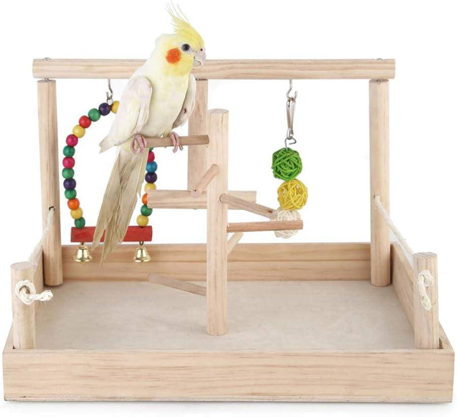 PETAMANIM Soporte de Actividad de Madera de Loro Parrot Stand Juguete de Soporte de Jaula para Pájaro Periquito Cacatúa Juguete de Entrenamiento