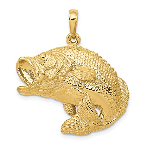 - Mireval 14k Yellow Gold Bass Fish Jumping Pendant (27 x 30 mm)
