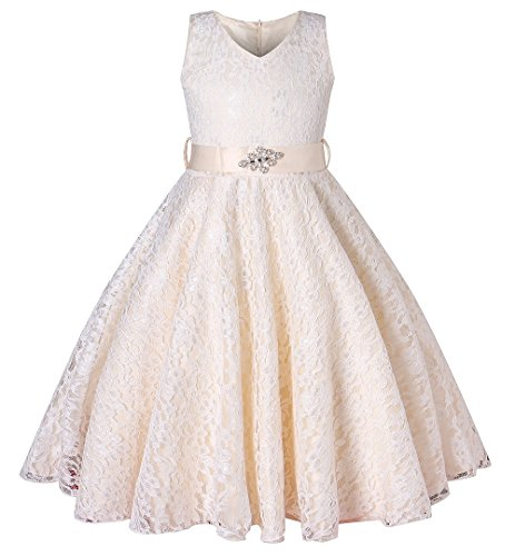 BEAUTY CHARM Girls Tulle Lace Glitter Vintage Pageant Prom Dresses with Belt Champagne ()