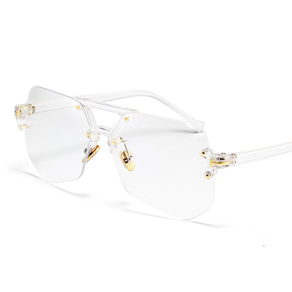 Z& YQ Occhiali da sole senza montatura uomini e donne retro semplice trasparente tondo viso moda occhiali alla moda , B Z&YQ sports