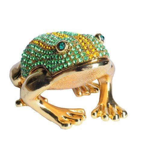 Lilly Rocket Collectible Trinket Box with Rhinestone Bejeweled Swarovski Crystals - Large Green Striped Frog ()