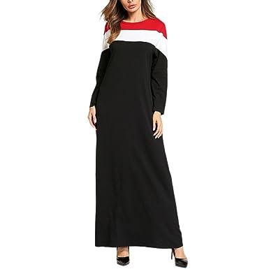 Zhhlinyuan Damen Boho Stil Mode-Farbe Maxi Lange Ärmel Hohe Taille ...