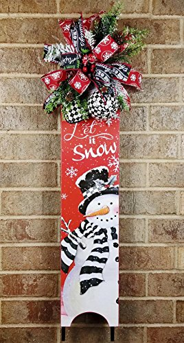 Berry Sleigh (Handmade Christmas Let It Snow Snowman Sled, Chalkboard Snowflake Bow Swag, Wall Hanger, Fireplace Decor, Ornaments, Berries, Pine, Holiday Sleigh)