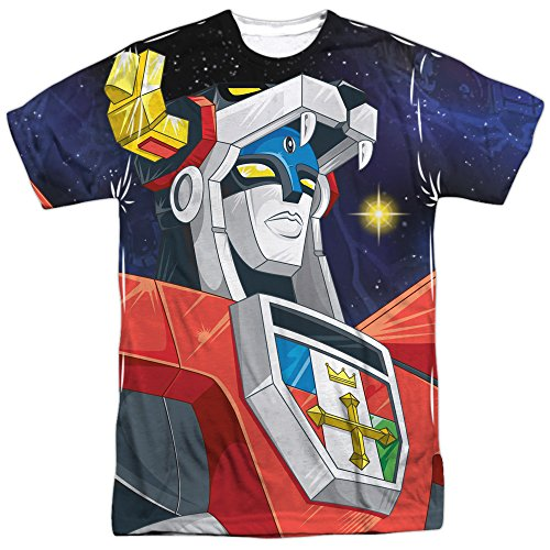 2 Sided Graphic T-shirt (Voltron:Defender of the Universe Show Robot in Space Adult 2-Sided Print T-Shirt)