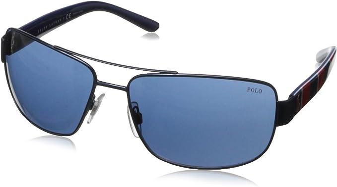 Ralph Lauren Polo Ph3087 - Gafa de sol cuadrada color azul semi-brillante con lentes color azul, 64 mm: Amazon.es: Ropa y accesorios