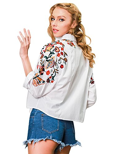 Simplee Apparel Women's Long Sleeve Turn Down Collar Button up Flower Embroidered Shirt Cotton Blouse Top White Embroidery