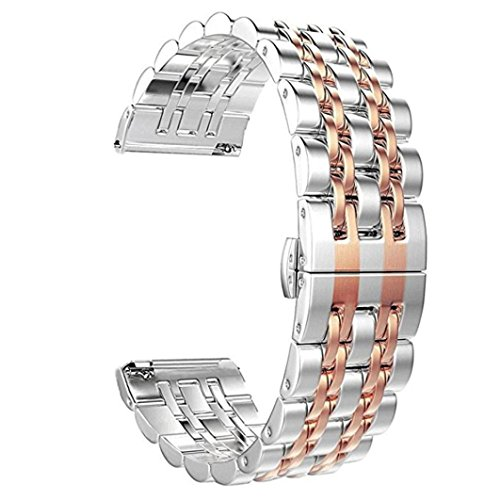 - Quick Release Bracelet - Genuine Stainless Steel Strap Wrist Band Replacement Watch Bands for Fitbit Versa Smart Watch (Rose Gold)
