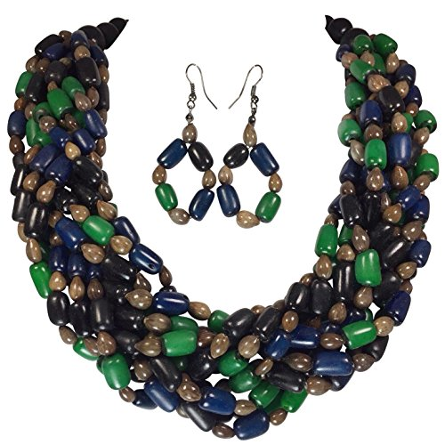 Braided Buri Palm and Wood Beads Statement Necklace Earrings Set (Green Blue (Blue Bead Necklace Set)