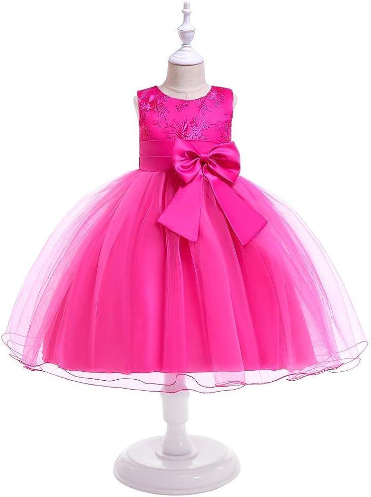 LZH Vestido de Ni/ñas Boda Fiesta de Princesa Encaje de Flor C/óctel Vestido