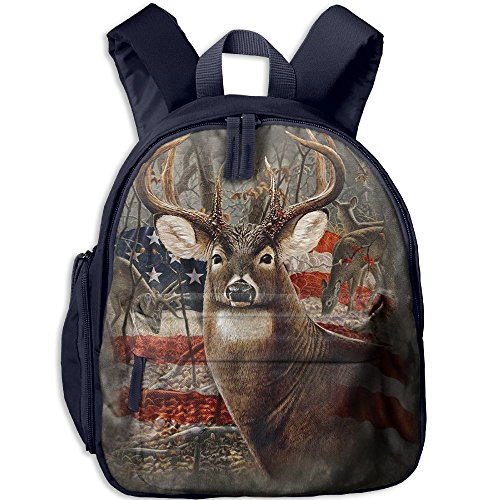 Americana Flag Deer Double Zipper Waterproof Children Schoolbag Backpacks With Front Pockets For Youth Boys (Double Shoulder Deer)
