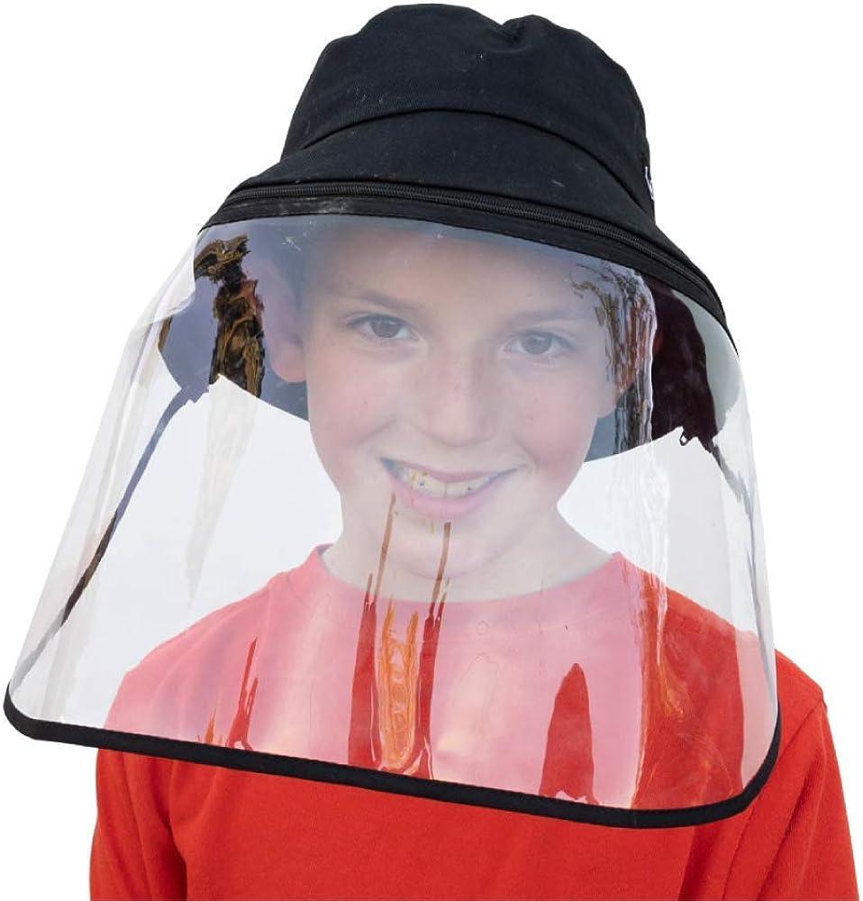 Detachable Face Shield Kids /& Adults Sizes Cotton Sun Protection Bucket Hats