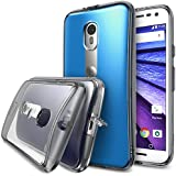 Moto G 2015 Case, Ringke [Fusion] Crystal Clear PC Back TPU Bumper w/ Screen Protector [Drop Protection/Shock Absorption Technology][Attached Dust Cap] For Motorola Moto G 3rd Gen - Smoke Black