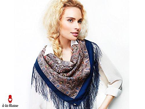 Foulard russe châle LISA 100% laine, frange soie, 90*90 cm, bleu et beige, motif paisley