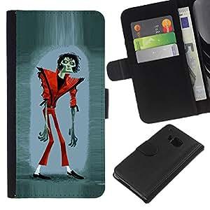 KingStore / Leather Etui en cuir / HTC One M7 / Drôle de Halloween Thriller