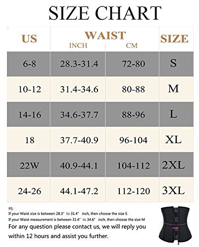 Womens Hot Sweat Weight Loss Neoprene Workout Shirt Waist Trainer Corset Trimmer Belt Body Shaper Cincher Zipper Slimming (Black, M(US 10-12))