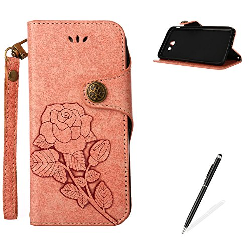 MAGQI for Samsung Galaxy J7 Prime Durable Retro PU Leather Beautiful Rose Case with Built-in Card Slots Flexible Flip Wallet Stand Function Full Cover - Retro Pink
