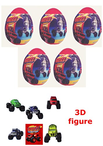 5 New Blaze And Monster Machines Eggs With Character  Comes With A Figure Truck Per Egg