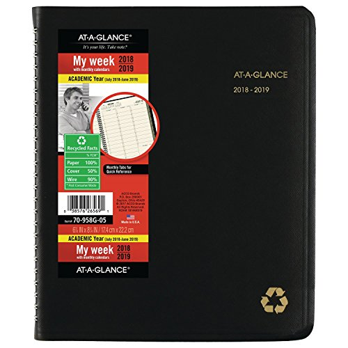AT-A-GLANCE 2018-2019 Academic Year Weekly & Monthly Planner / Appointment Book, Medium, 6-7/8 x 8-3/4, Recycled, Black (Vertical Weekly Calendar)