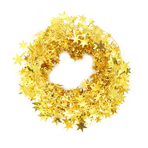 Vesil Christmas Decorations Gold Star Wire Garland - 25 Ft X (Gold Tinsel Star)