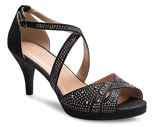OLIVIA K Women's Sexy Strappy Glitter Rhinestone Open Toe Heel Sandals - Adjustable -