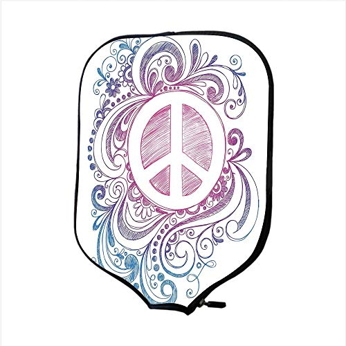 (Neoprene Pickleball Paddle Racket Cover Case,Groovy Decorations,Classic Hand Drawn Style Peace Sign and Swirls Freedom Change Hope Roll Icon,Pink Blue White,Fit For Most Rackets - Protect Your Paddle)