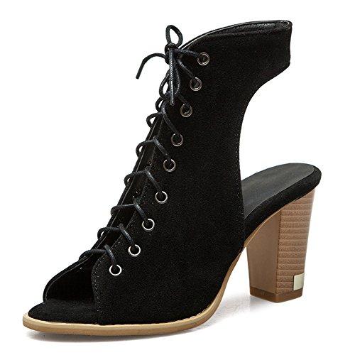 Classique Noir Bottines Lacets à Femme Aisun Talons Hauts Sandales w86q5B5
