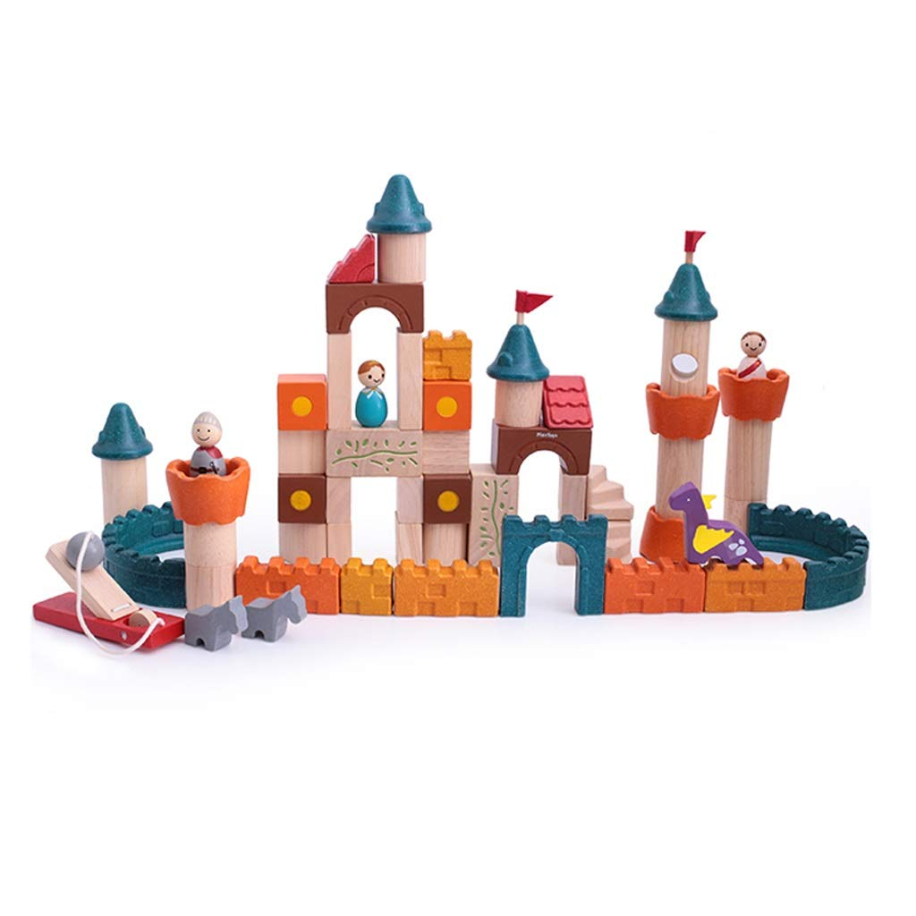 Lxrzls Wooden Building Blocks-Colored Educational Toy for Toddlers with Different Shapes-Geometric Sorter Board Wooden Building Blocks -Preschool Education for Toddler Children