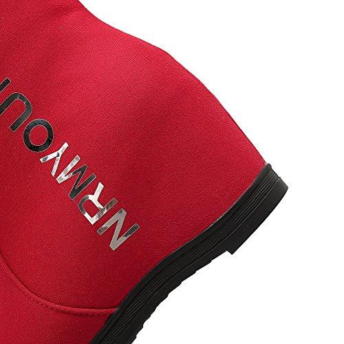AllhqFashion Damen Gemischte Farbe Hoher Absatz Blend-Materialien Ziehen auf Stiefel Rot