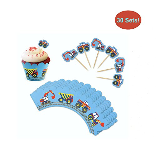 Cupcake Toppers and Wrappers for Boy Birthday - Vehicle Party Cupcake Wrappers With Picks (Monster Truck, Excavator, Dump