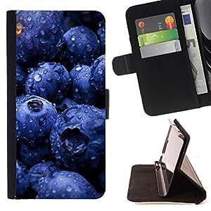 - Fruit Blueberries - - Monedero PU titular de la tarjeta de cr????dito de cuero cubierta de la caja de la bolsa FOR HTC One M9 RetroCandy