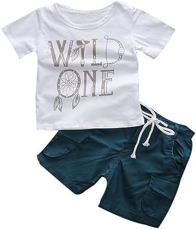 Fossen Ropa Niño Verano 2-7 años Niños Camiseta de Manga Corta Impresión de Carta y Pantalones Cortos Conjunto de Ropa: Amazon.es: Ropa y accesorios