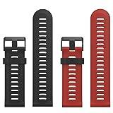 Garmin Fenix 3 Accessories, MoKo Soft Silicone Replacement [2 PCS] Watch Band with Tools for Garmin Fenix 3 / Fenix 3 HR Smart Watch - Black & Dark Red