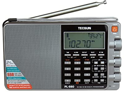 Tecsun PL880 Portable Digital PLL Dual Conversion AM/FM, Longwave & Shortwave Radio with SSB (Single Side Band) Reception, Color Silver from Tecsun