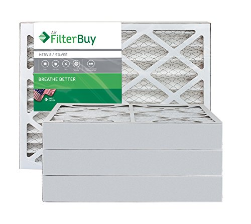 FilterBuy 16x20x4 MERV 8 Pleated AC Furnace Air Filter, (Pack of 4 Filters), 16x20x4 – Silver
