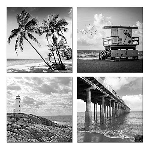 - Biuteawal- 4 Piece Wall Art Back White Beach Picture Canvas Print Florida Coastline Lighthouse Lifeguard Tower Pier Poster Print Streched Framed Artwork Living Room Bedroom Bathroom Deco
