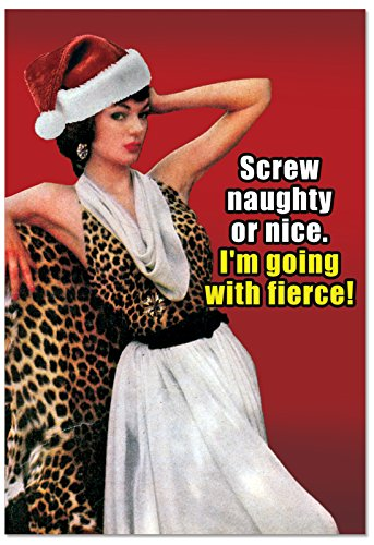 - 12 'Fierce Holiday' Boxed Christmas Cards with Envelopes 4.63 x 6.75 inch, Funny Vintage Photograph of Classy Woman Holiday Notes, Fun Hilarious Christmas Stationery B2542XSG