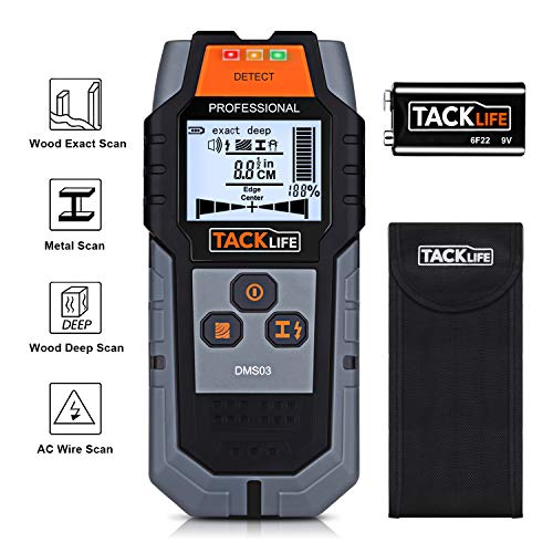 TACKLIFE Stud Finder Wall Scanner, 4 in 1 Center Finding Electronic Wall Detector Finders with Sound Warning, Four Scan Modes for Wood Stud/Metal/Live AC Wire/Deep Detecting - DMS03