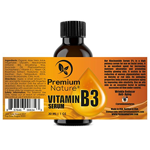 Vitamin B3 Facial Serum Niacinamide 5% - Moisturizing Face Cream Pore Minimizer Tightener Wrinkle Reducer & Collagen Booster Skin Lightening Anti Aging Dark Spot Fine Lines Age Spots Acne Scar Remover