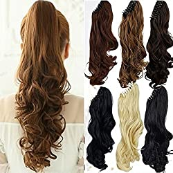 S-noilite Long Thick Claw Jaw Ponytail Big Wave Clip in Pony Tail Hair Extension Extensions (18 inches-curly, light brown)