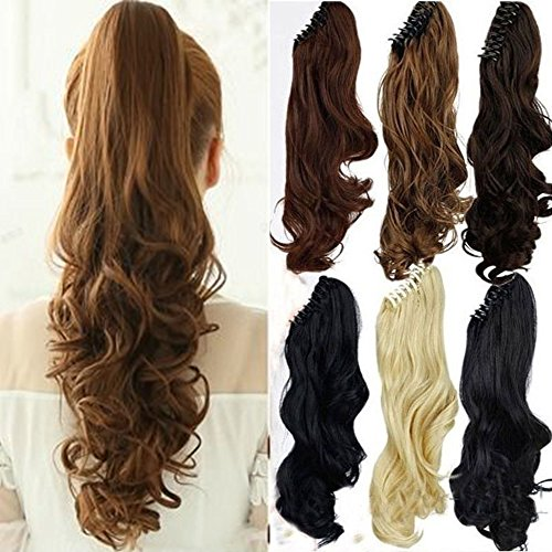 Hair Extension Ponytail (S-noilite Long Thick Claw Jaw Ponytail Big Wave Clip in Pony Tail Hair Extension Extensions (18 inches-curly, medium brown))