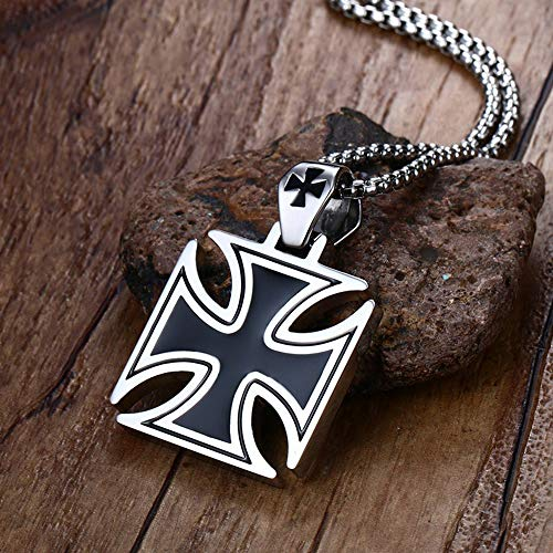 (wisecity Mens Necklace Stainless Steel Vintage Knights Templar Iron Cross Pendant Necklace for Men Biker Maltese Cross Jewelry(Multi-Color,one Size))