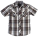 Gioberti Boys Casual Western Plaid Pearl Snap Short Sleeve Shirt, Brown/Navy / Gray Highlight : Size 6