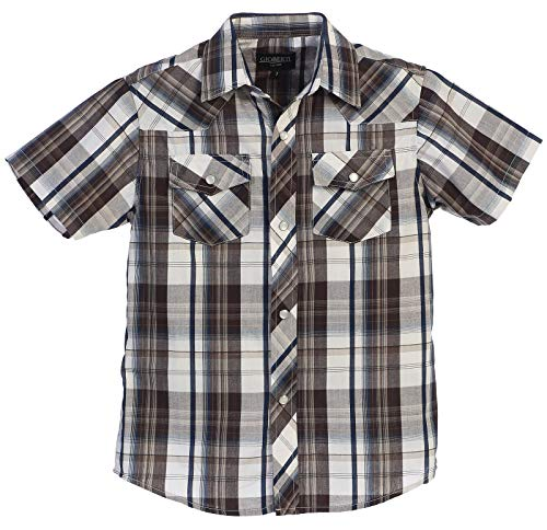 Gioberti Boys Casual Western Plaid Pearl Snap Short Sleeve Shirt, Brown/Navy / Gray Highlight : Size 6 by Gioberti
