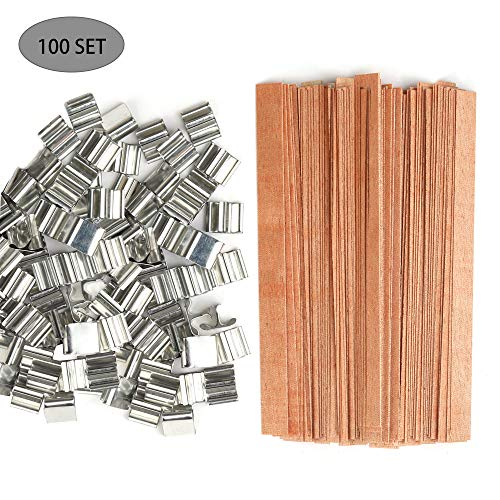 100 Set Candle Wicks, Smokeless Natural Wooden Candle Wicks with Iron Stand Candle Cores for DIY Candle Making Craft,0.51 X 5.1 Inch