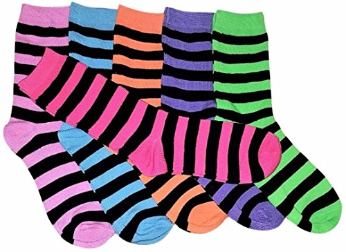 6 Pairs Womens Striped Socks 80% Cotton Crew Ladies Assorted Colors Size 9-11