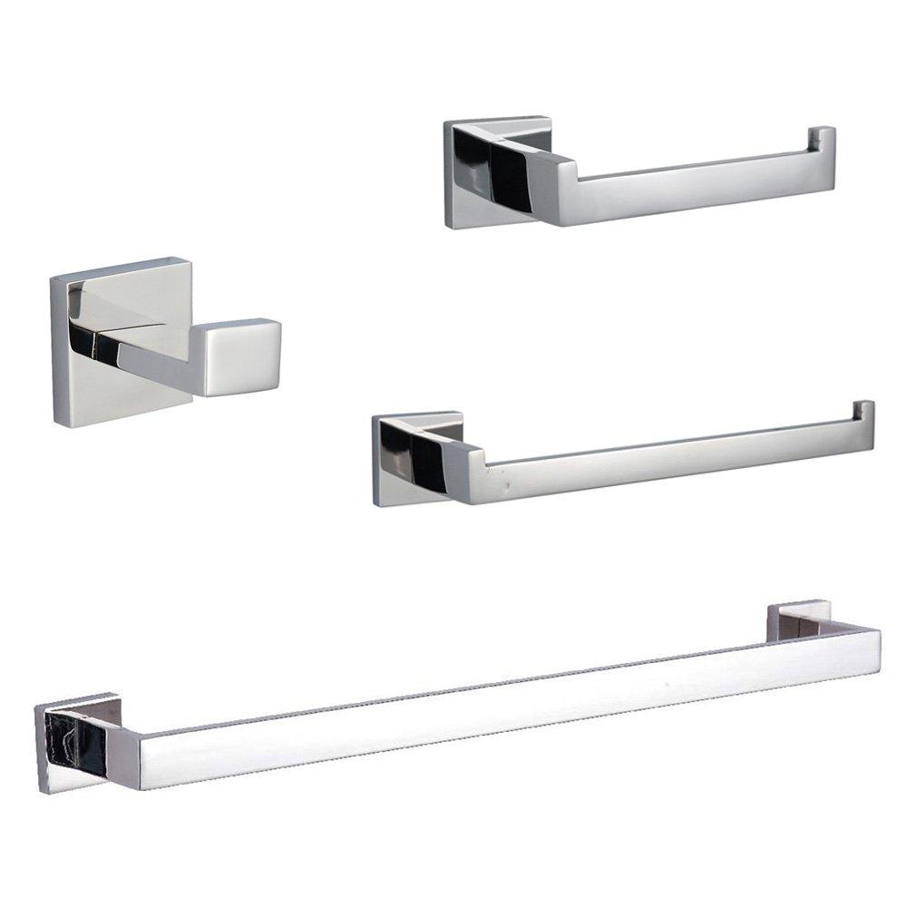 KES SUS304 Stainless Steel Bathroom Accessories Set Single Towel Bar Robe Hook Toilet Paper Holder Towel Ring Wall Mount, Polished Finish, LA250-42
