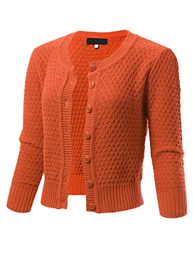 ARC Studio Womens Button Down 3/4 Sleeve Crewneck Cropped Knit Cardigan Crochet Sweater XL Dusty - Crochet Orange