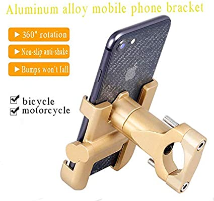 imufer Bicycle Cell Phone imufer Bike Motorcycle Phone Mount Aluminum Bicycle Cell Phone Holder Fits iPhone X Xs 7 7 Plus 8 iPhone 6s Plus Galaxy S7 S6 S5 Golden
